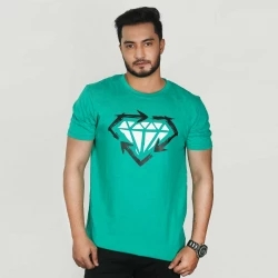 diamond half sleeve cotton t-shirt for men -red