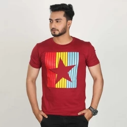 star half sleeve cotton t-shirt for men -maroon