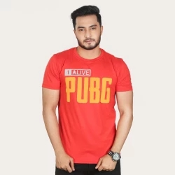 1-alive pubg half sleeve cotton t-shirt-red