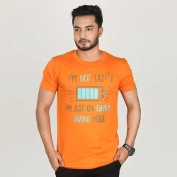i'm not lazy half sleeve cotton t-shirt -red