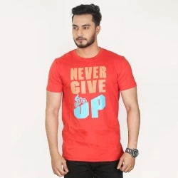 never give up half sleeve cotton t-shirt -red