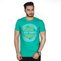 believe yourself half sleeve cotton t-shirt- green