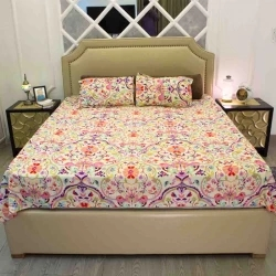 cotton double size bed sheet 3 pcs set