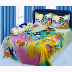cotton double size bed sheet 3 piece set