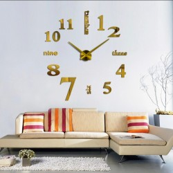 3d digital mirror sticker with active wall clock