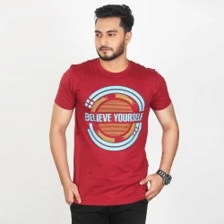 believe yourself half sleeve cotton t-shirt -red