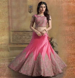 un-stitched embroidered georgette lehenga